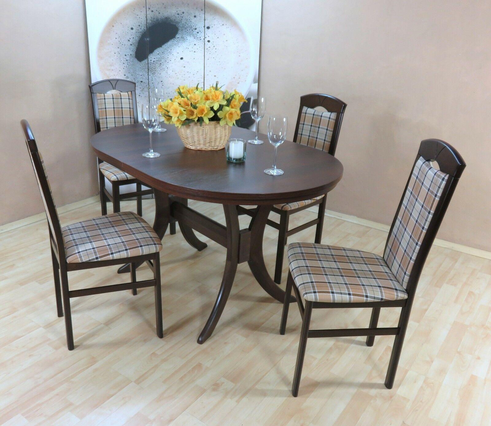 Moderne Tischgruppe 5 Teilig Nuss Braun Massiv Stühle Tisch Günstig