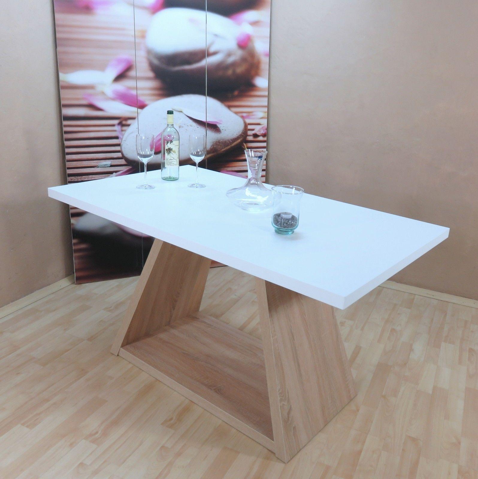 Säulentisch Weiß Eiche Sonoma Esstisch Wohnzimmer Esszimmer Modern Deisgn  Edel