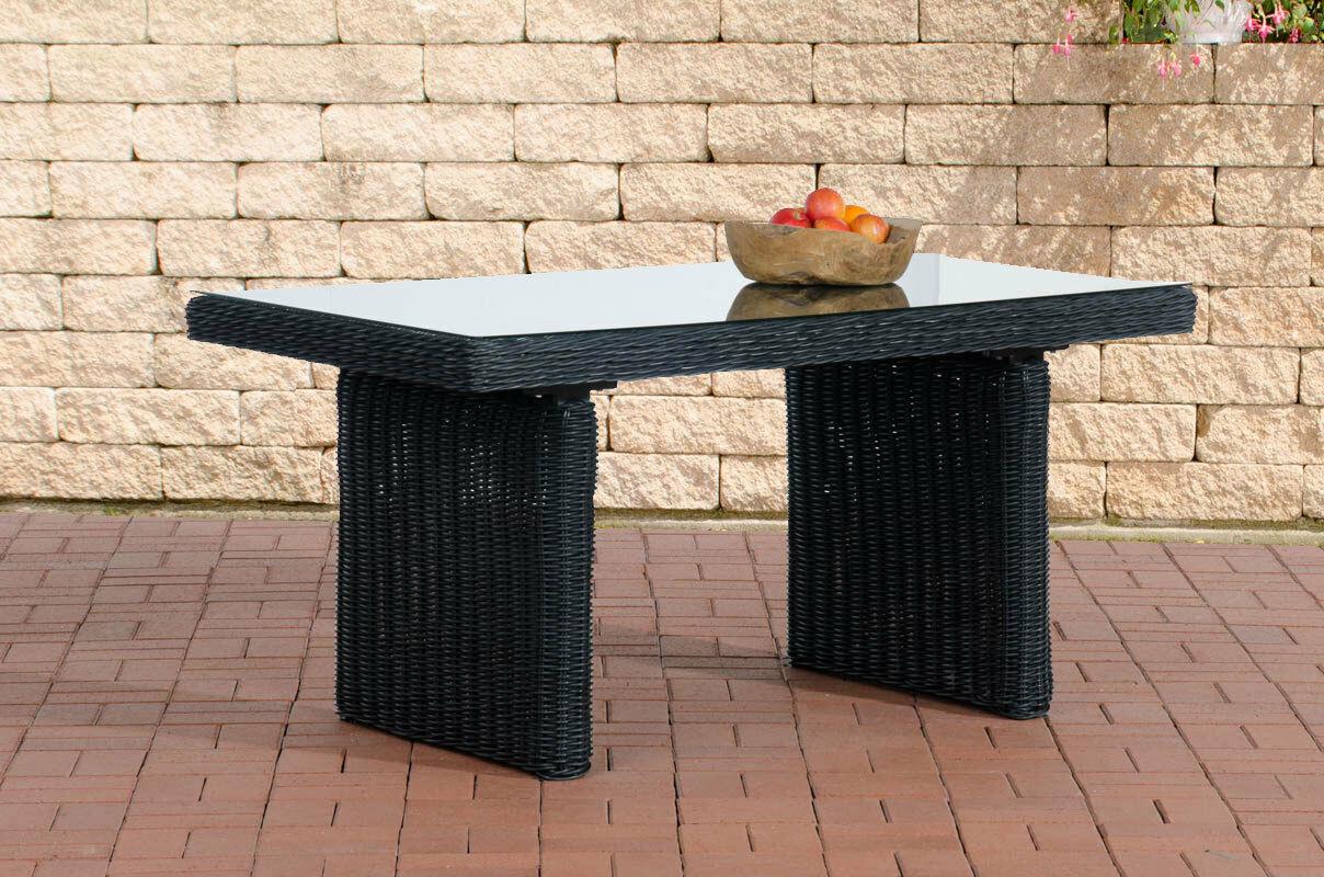 Tisch Schwarz Gartentisch Garten Polyrattan Terrassentisch