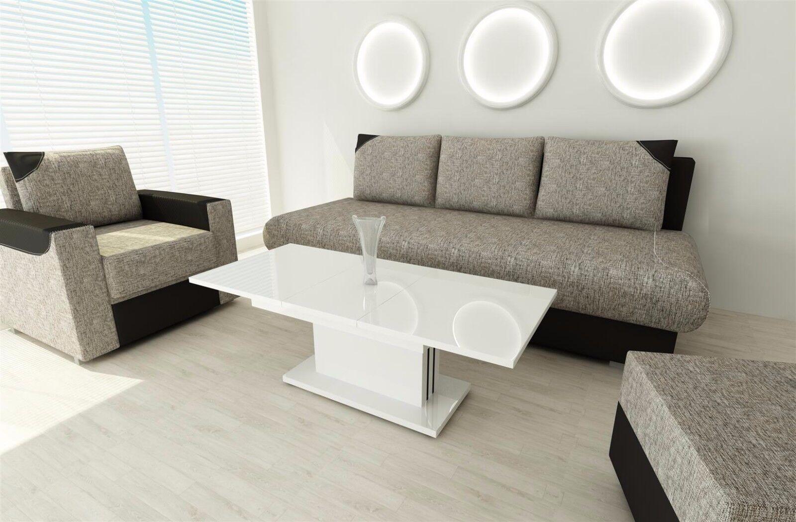 Couchtisch Hochglanz weiß ausziehbar Wohnzimmer design modern edler ...