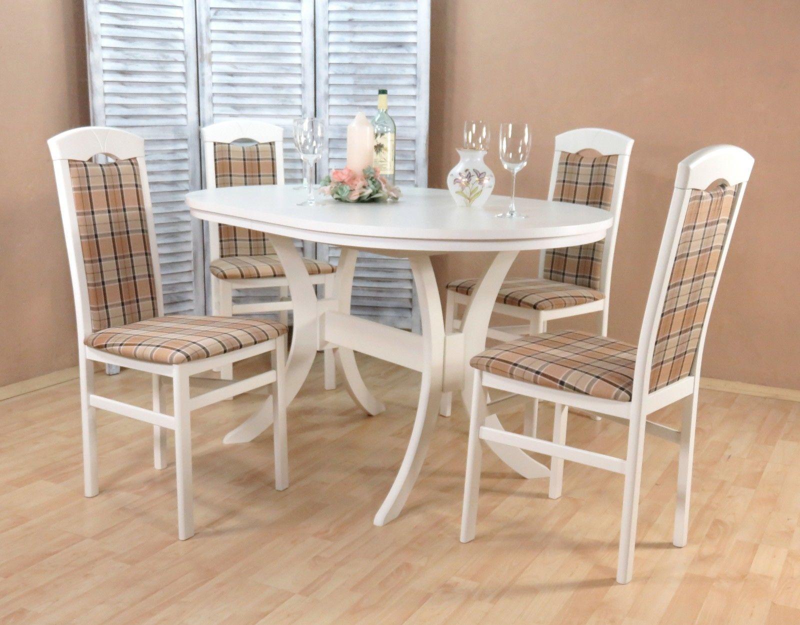 Attraktiv Esstisch Stühle Beige Galerie Von Tischgruppe Weiß Braun Massivholz 4 X Stühle