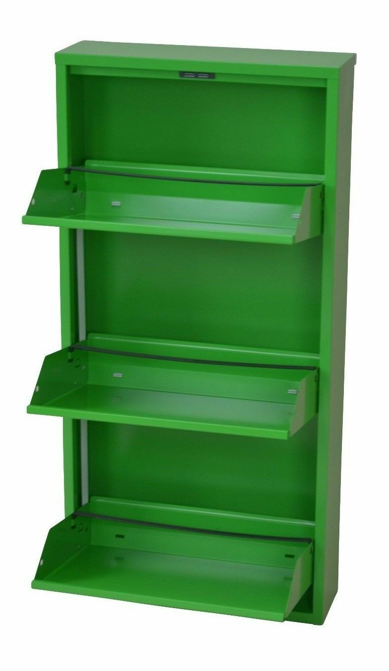 moderner Metall-Schuhschrank grün 3 Klappen Schuhkipper Schuhregal ...