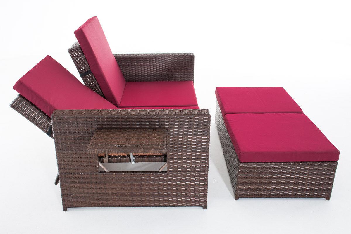poly rattan 2er lounge sofa braun rot gartensofa couch lounge terrasse outdoor kaufen bei go. Black Bedroom Furniture Sets. Home Design Ideas