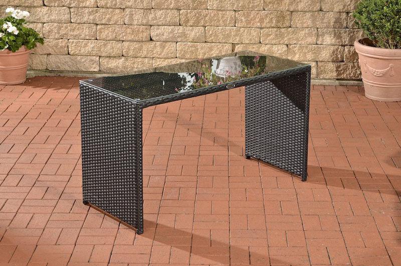Gartentisch Polyrattan schwarz Terrassentisch Rattantisch Glastisch ...