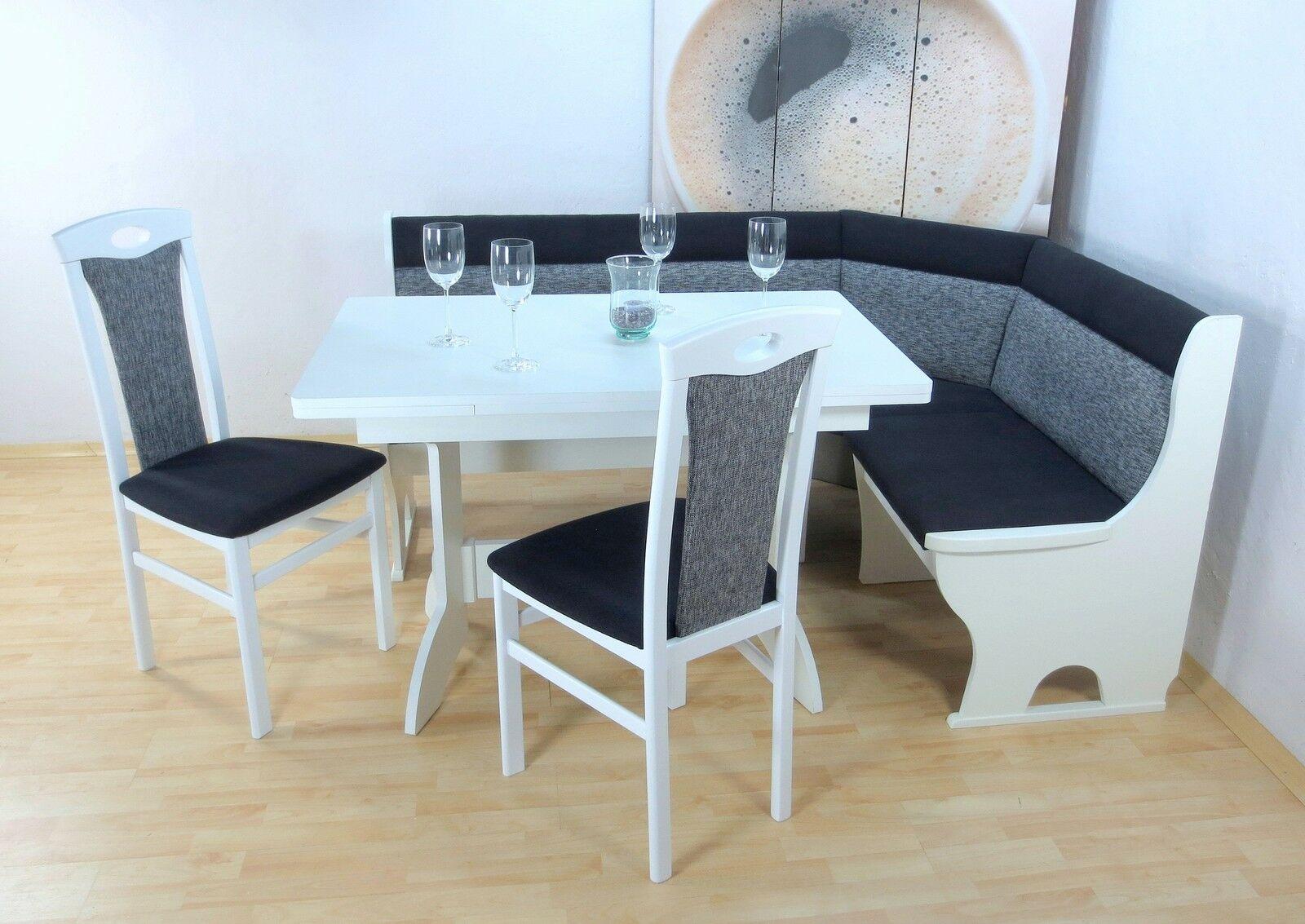 Weiß Truheneckbankgruppe 4 Grau Design Stühle Tisch Moderne Schwarz TlgMassiv IbyYf7m6gv