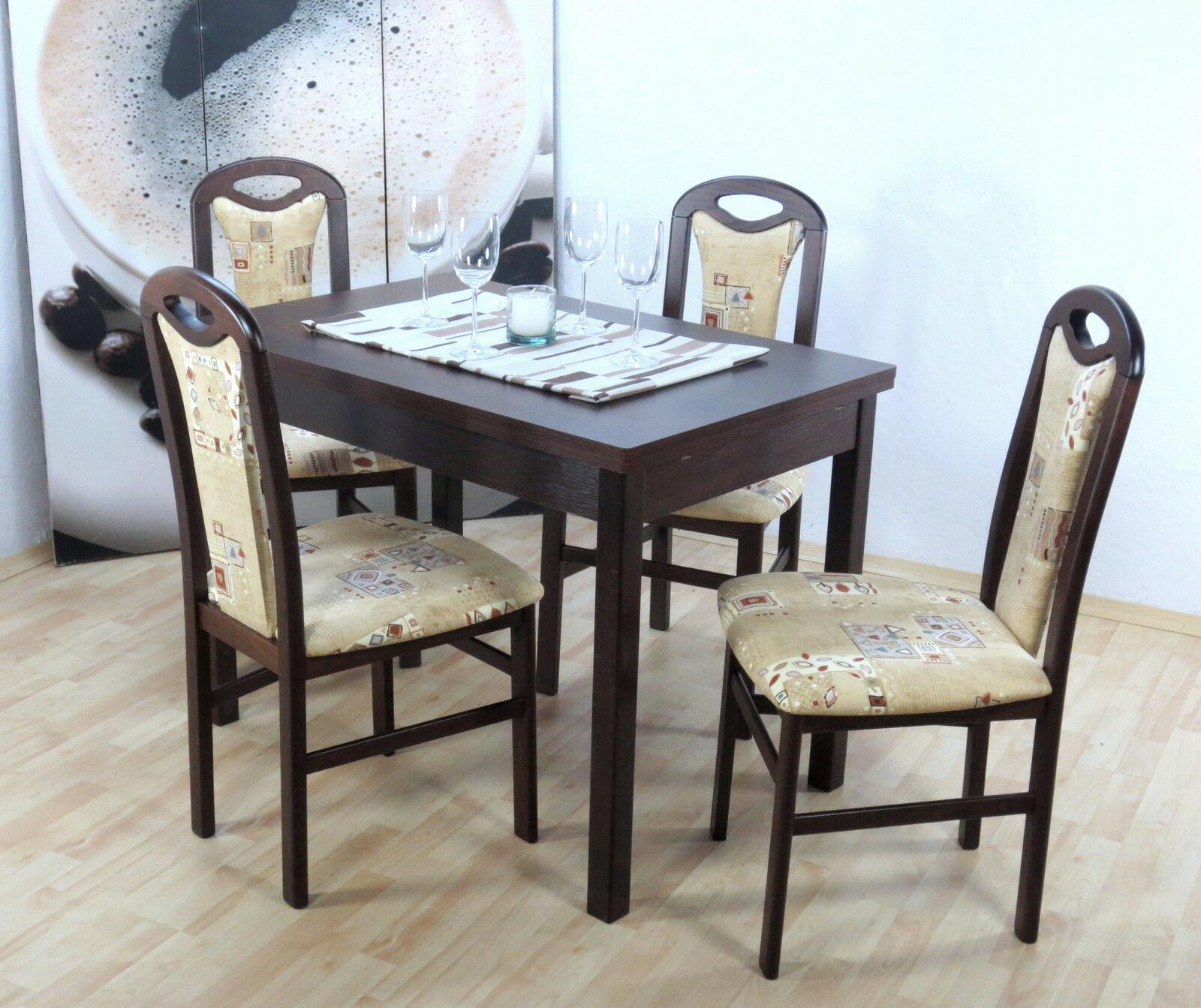 Moderne Tischgruppe 5 Teilig Buche Massiv Nußbaum Beige Tisch Stühle