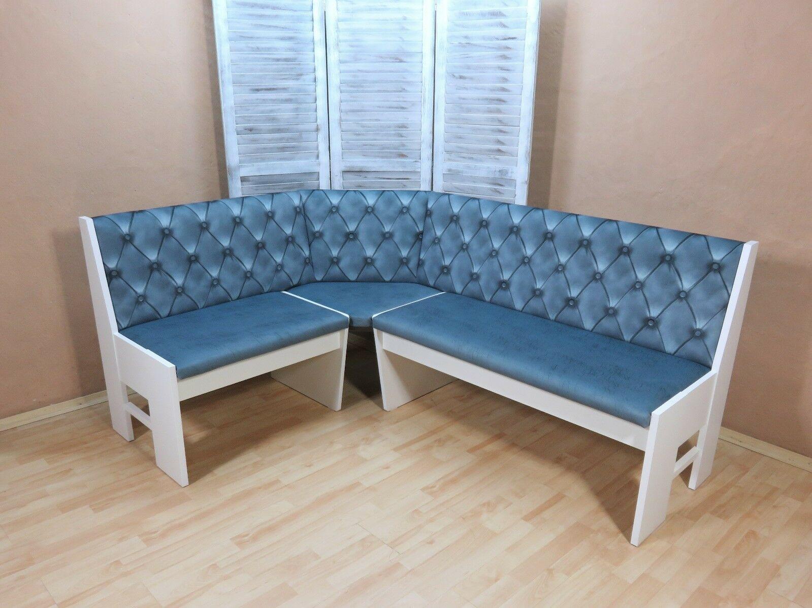 Truheneckbank Weiß Eisblau Eckbank Essecke Küchenbank Modern Design
