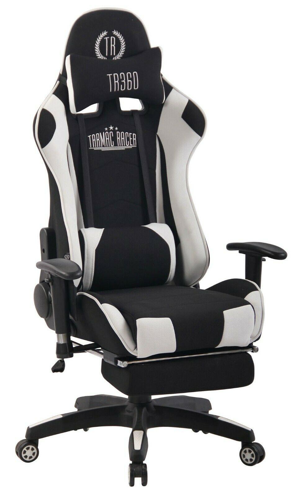 und Massagefunktion Gaming Gamer Zocker Bürostuhl weiß Stoff Chefsessel Wärme