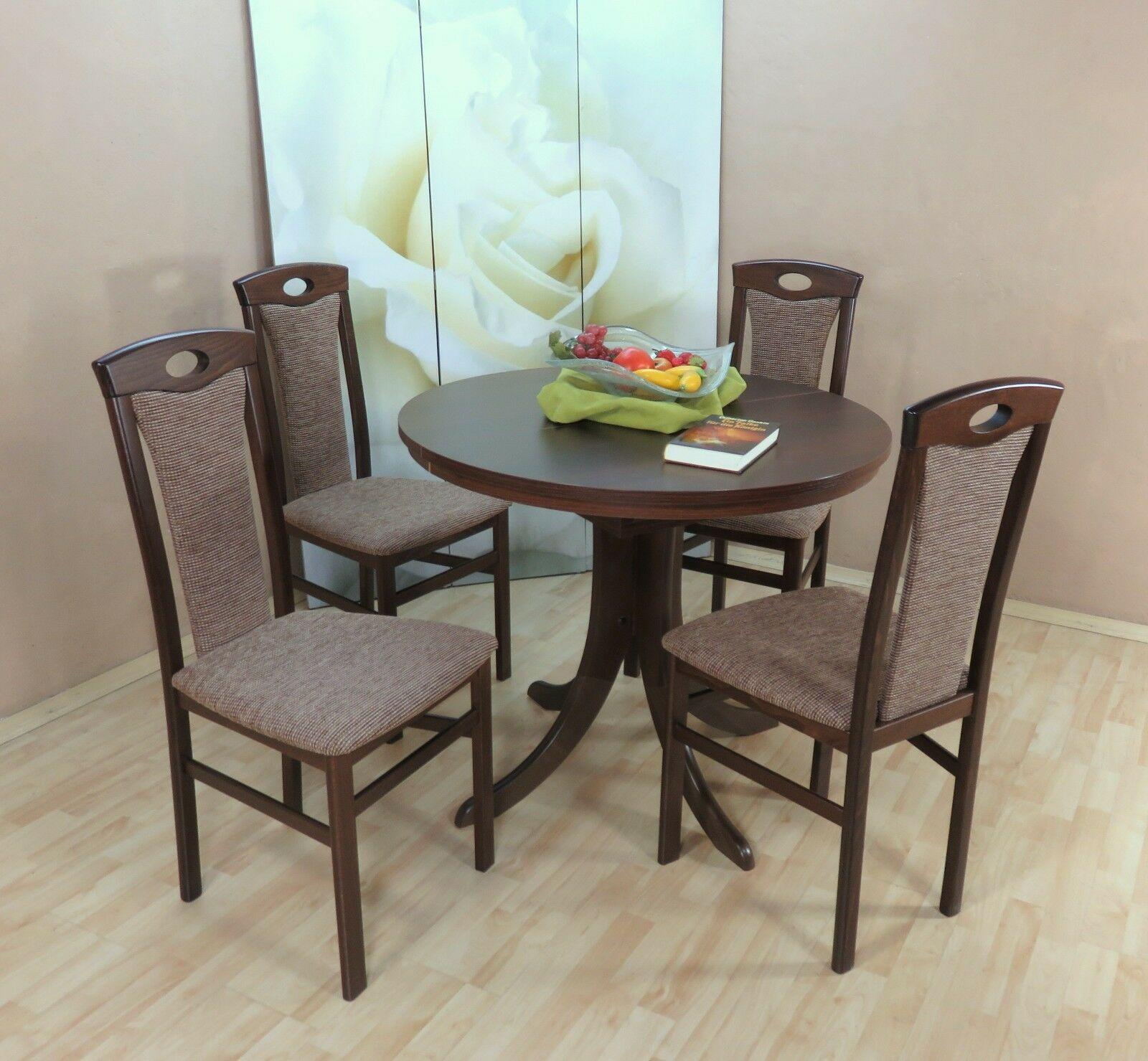 Tischgruppe 5 Teilig Buche Massiv Nussbaum Cappuccino Essgruppe
