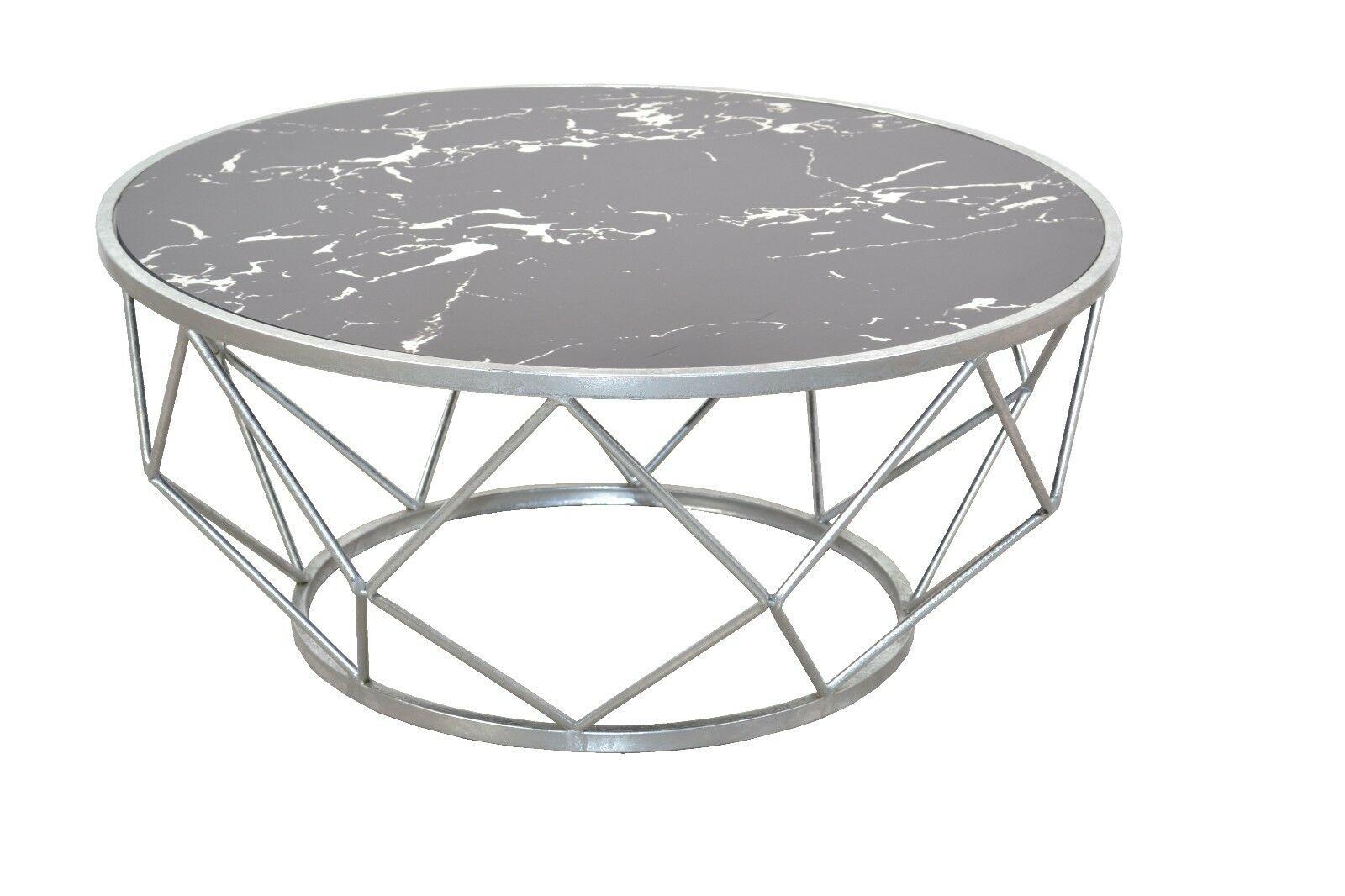Moderner Couchtisch Silber Marmorfolie Design Wohnzimmertisch Edler