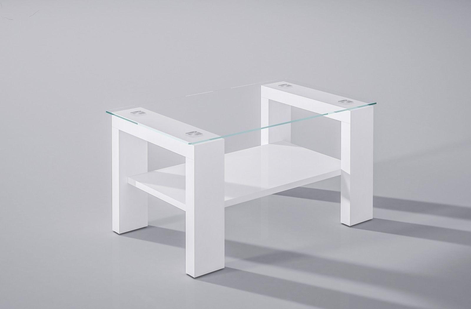 Hochwertiger Couchtisch Hochglanz Weiß Glas Sofatisch Modern Design