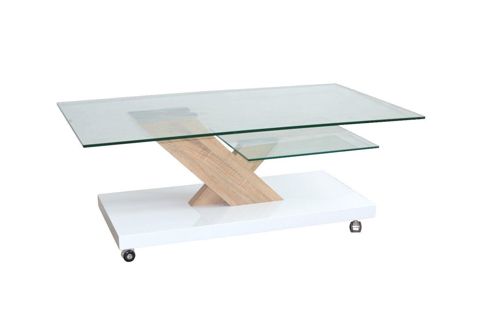 Couchtisch weiß Hochglanz Glastisch design Wohnzimmertisch Rollen ...