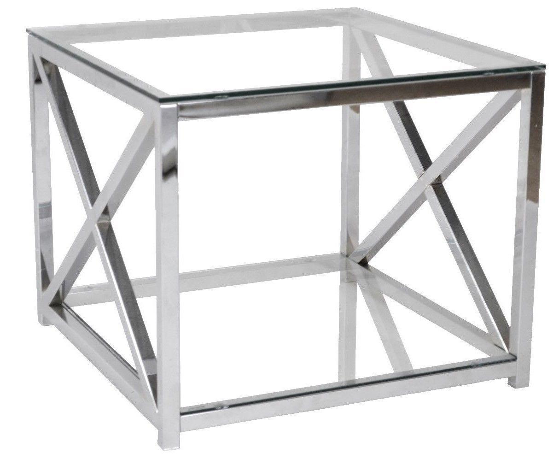 Beistelltisch Metall Chrom Glas 60x60x50 Cm Glastisch Sofatisch