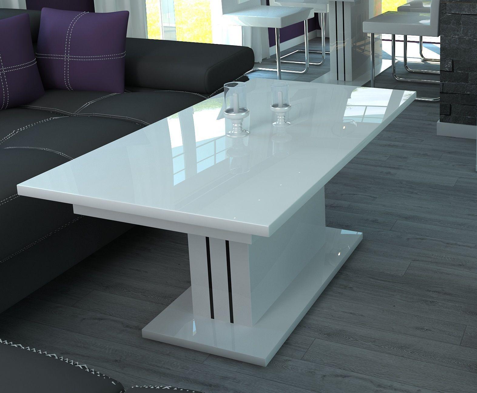 Couchtisch Ausziehbar Wohnzimmer Auszugtisch Design Hochglanz Weiss