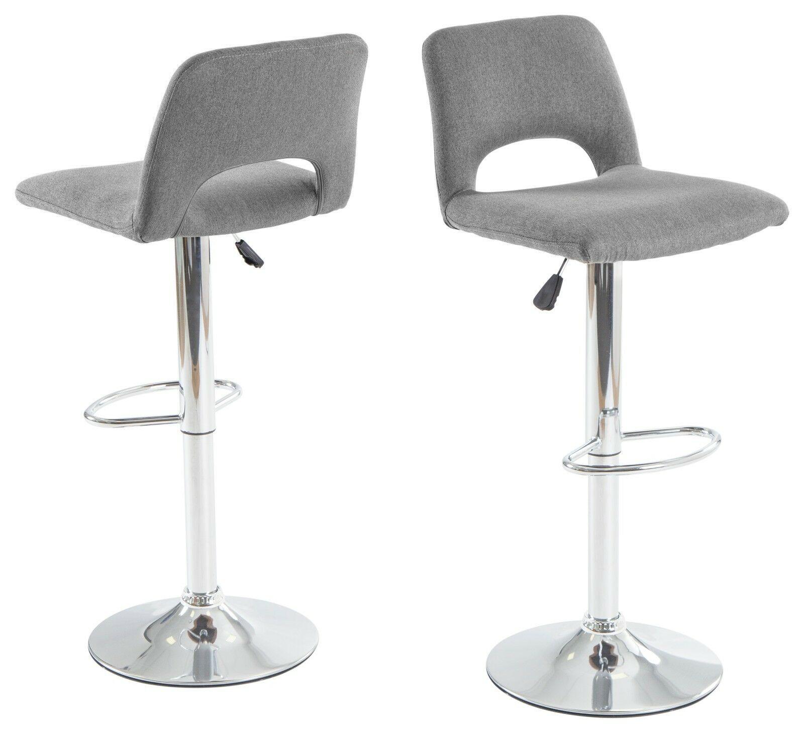 2 X Moderne Barhocker Grau Webstoff Küchenstuhl Hocker Set Design