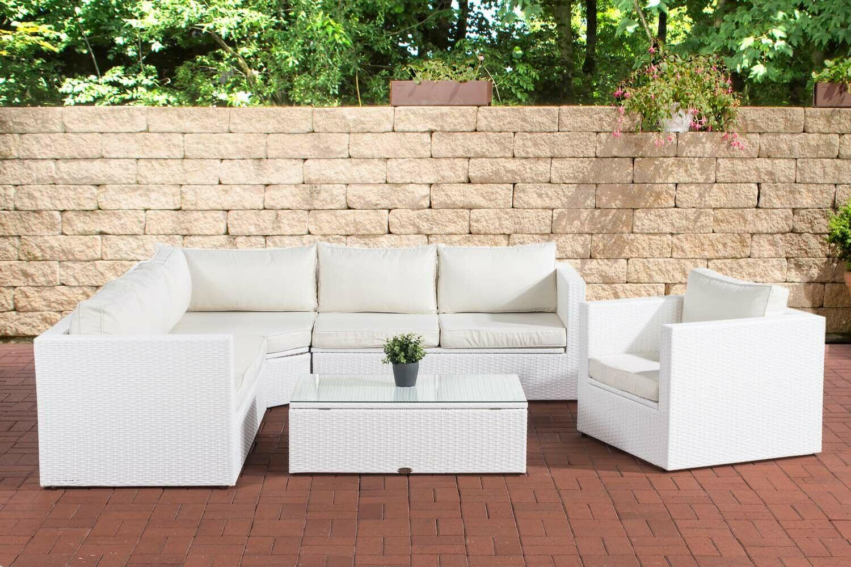 Polyrattan Gartengarnitur Weiß Sitzgruppe Lounge Terrasse Stauraum