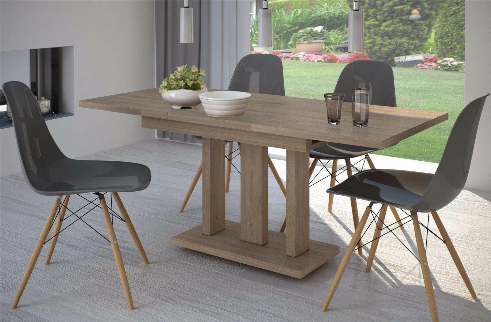 Saulentisch Sonoma Eiche Esstisch Ausziehbar Holz Auszugtisch Modern Design Neu