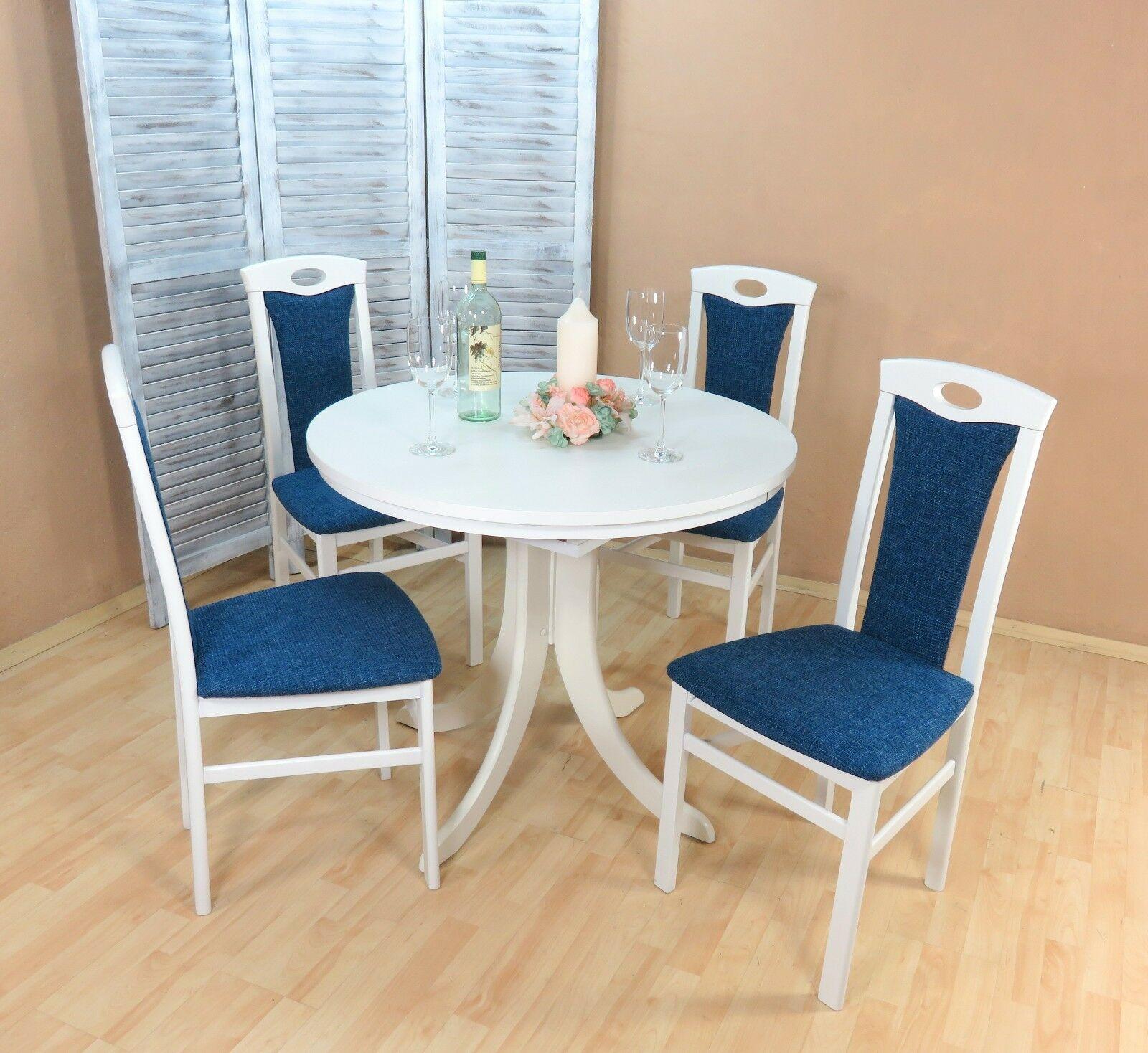 Tischgruppe Buche Massiv Weiss Blau Essgruppe Modern Design Günstig