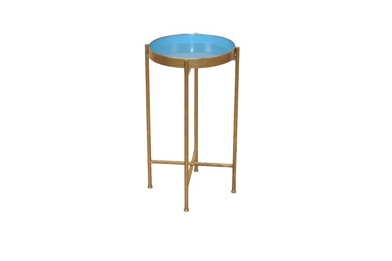 Beistelltisch antik rund  Beistelltisch blau antik goldfarben Beistelltisch rund ...