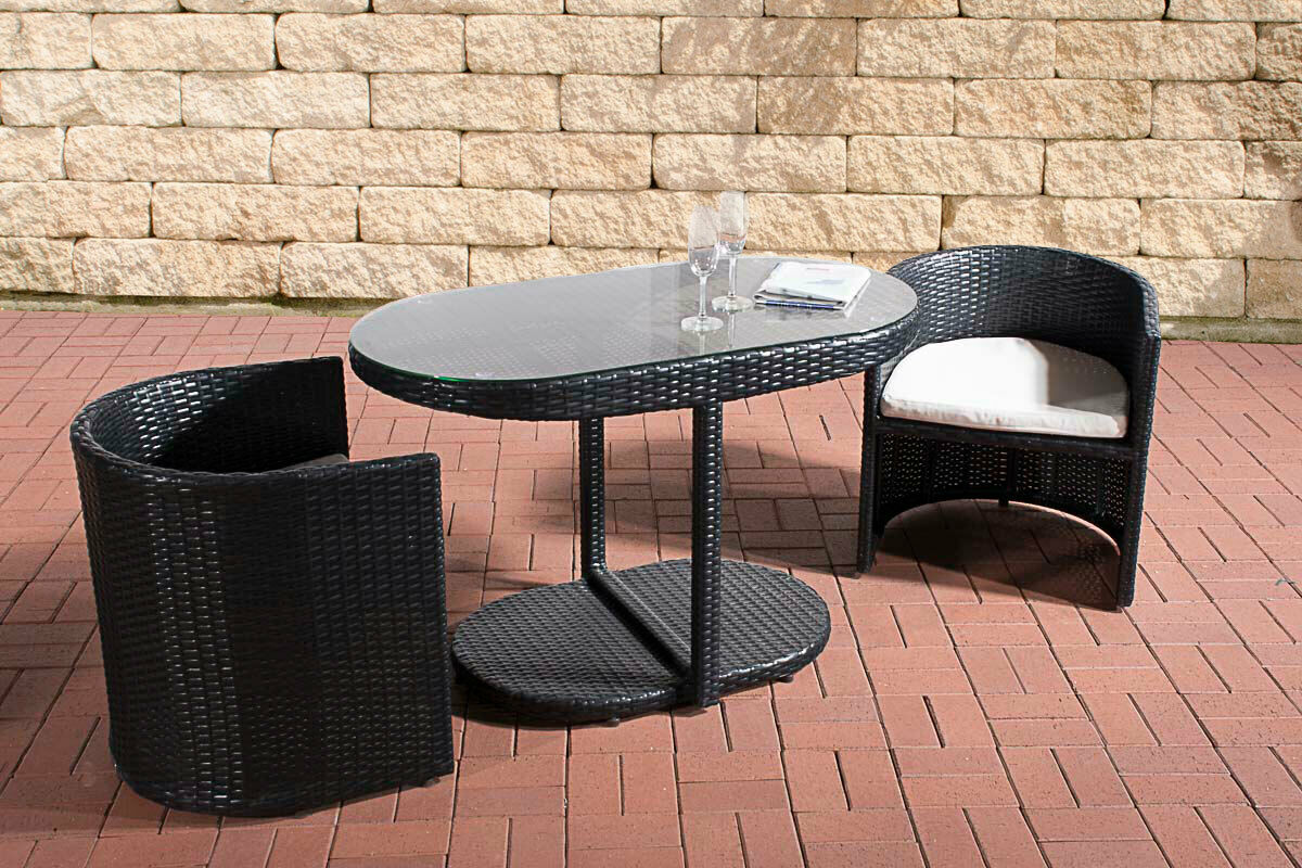 Polyrattan Sitzgruppe schwarz Essgruppe Sessel Esstisch Balkon Terrasse  Lounge