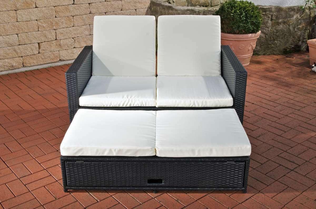 Poly Rattan 2er Lounge Sofa Schwarz Gartencouch Sonnenliege Terrasse Balkon