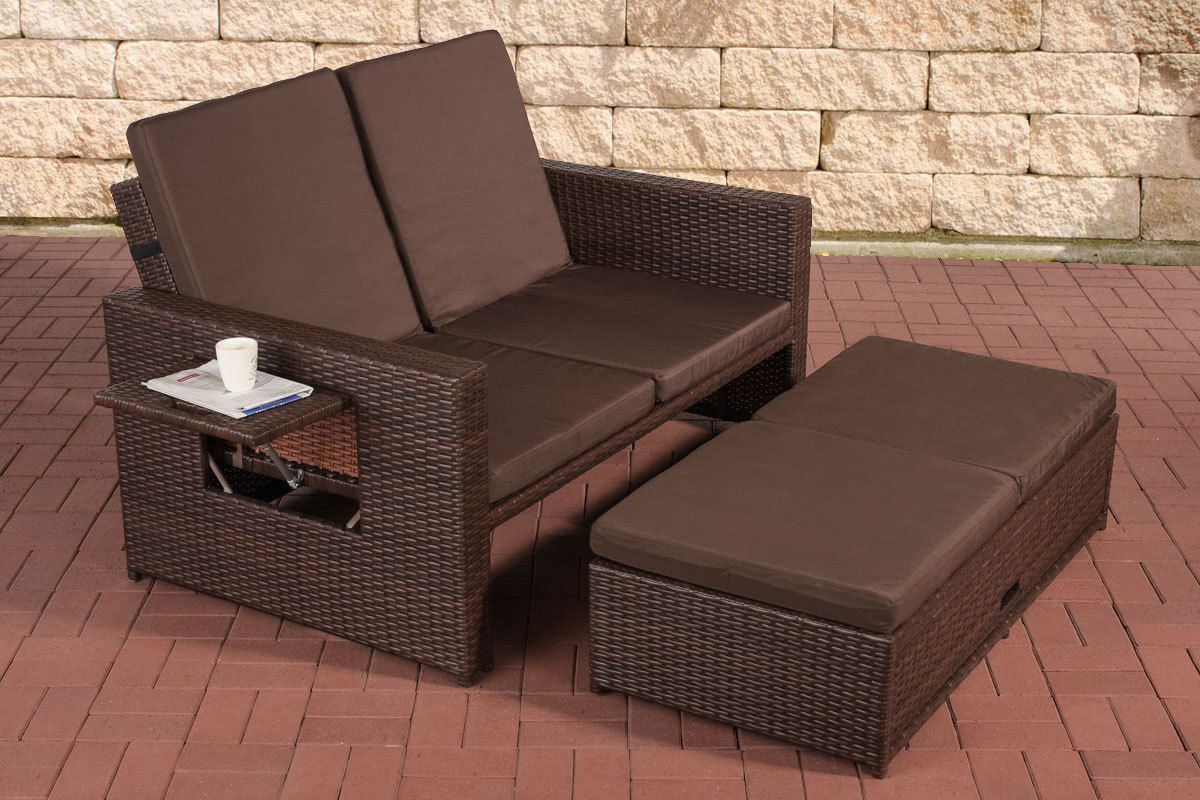 Poly Rattan 2er Lounge Sofa Braun Gartensofa Couch Lounge Terrasse