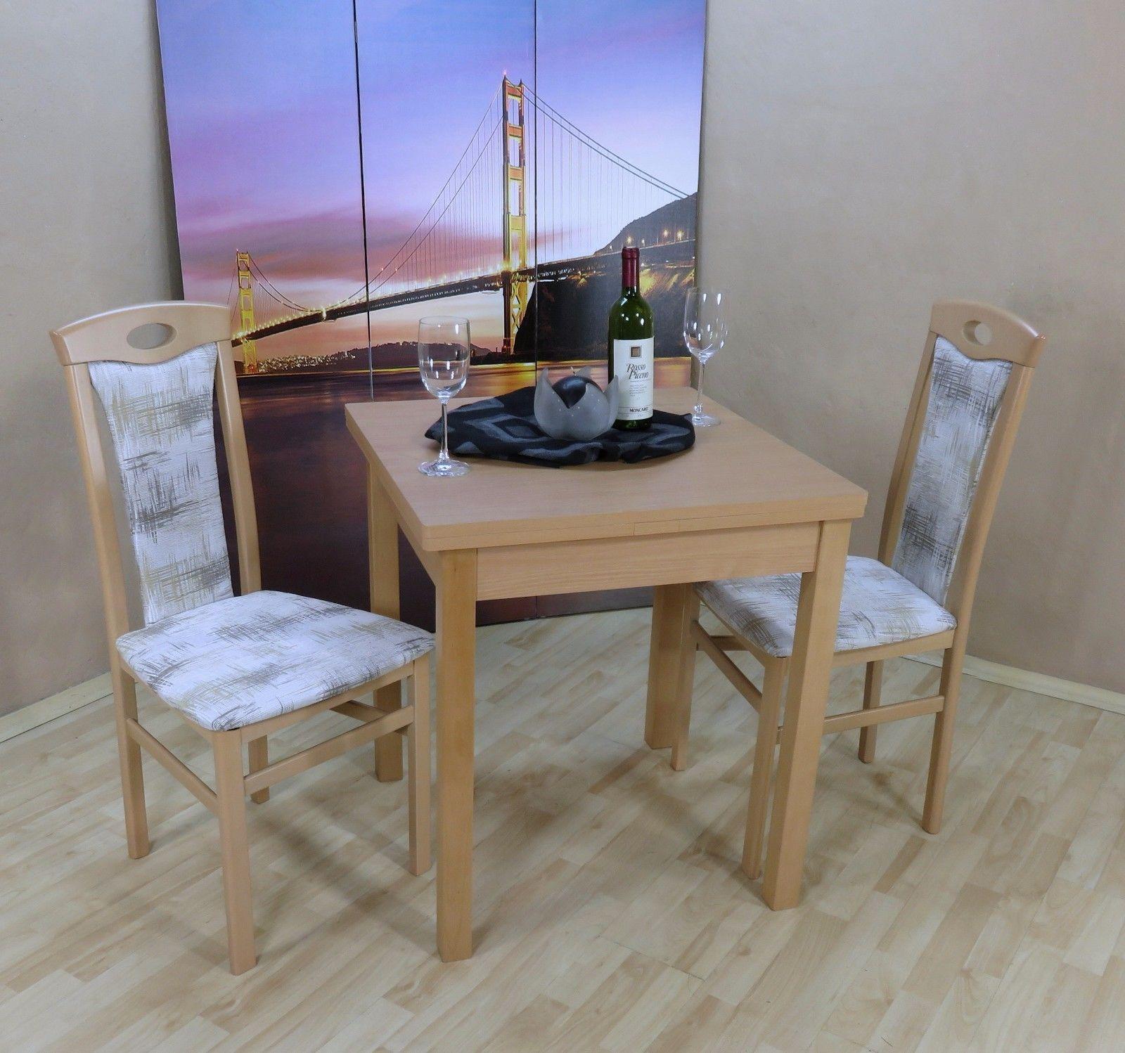 Esstisch massiv günstig  Tischgruppe Buche natur Essgruppe 2 Stühle Esstisch ausziehbar ...
