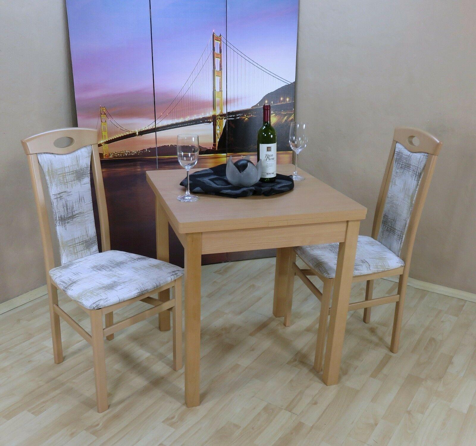 Gemeinsame Tischgruppe Buche natur Essgruppe 2 Stühle Esstisch ausziehbar &VS_31