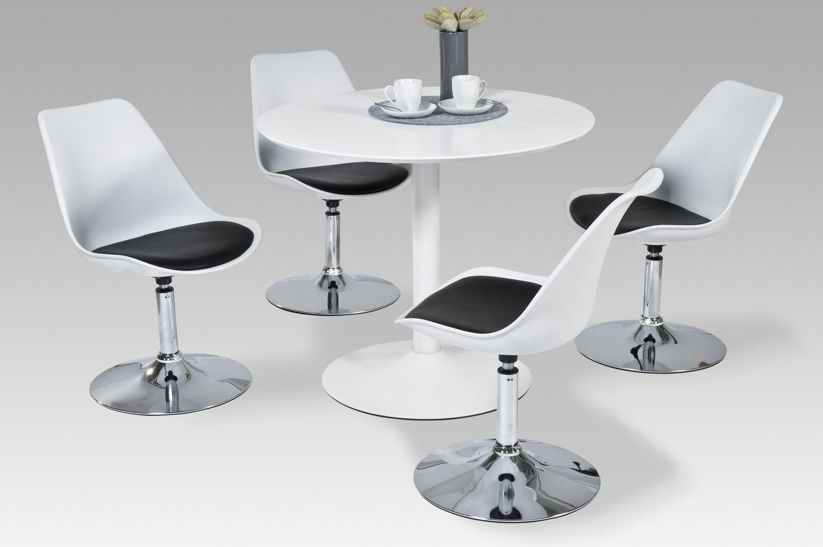 Esstisch modern rund  Esstisch Esszimmertisch Küchentisch Tisch Hochglanz weiss weiß rund modern