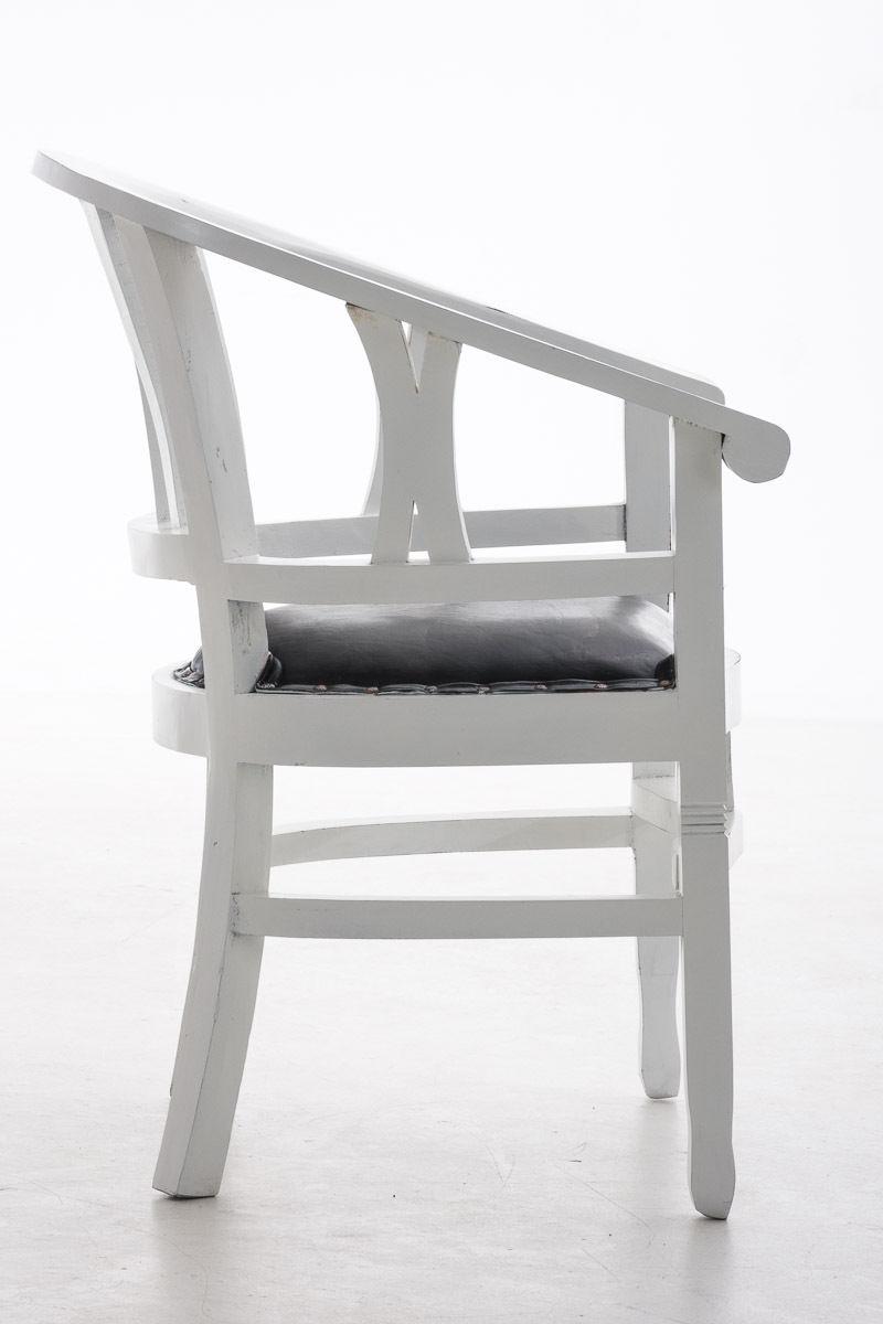 Holzstuhl antik weiß Sitzpolster Kolonial Sessel Küche Esszimmer ...
