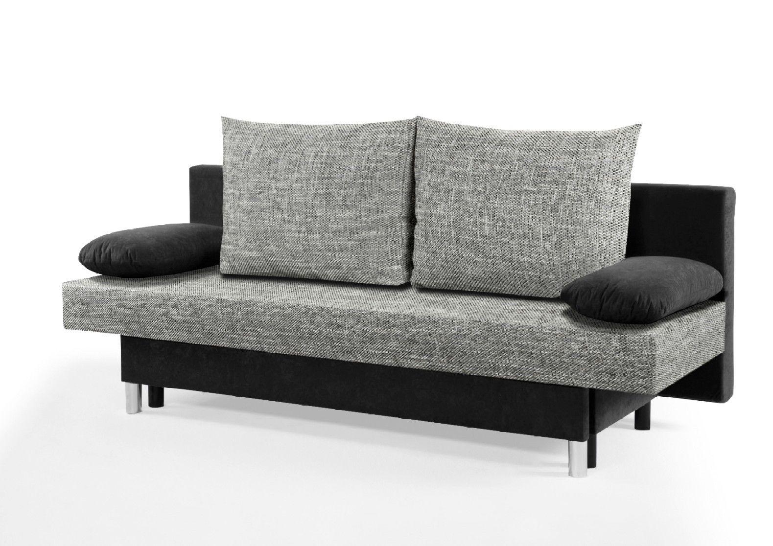 Schlafsofa Schlafcouch Couch Sofa Bett Liege Microfaser Schwarz Grau