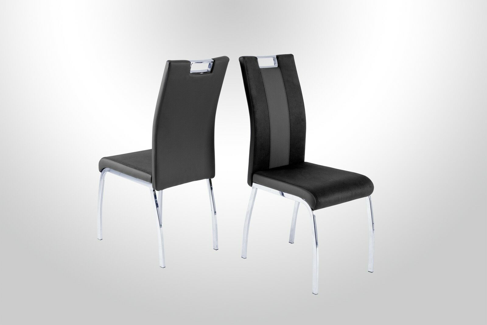 4 X Stuhle Schwarz Grau Kufe Chrom Stuhlset Esszimmer Kuche Modern