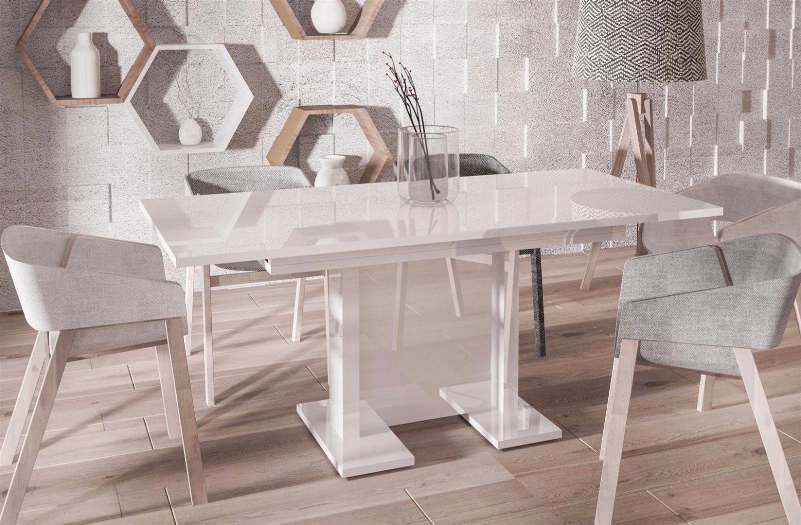 Esstisch modern günstig  hochwertiger Säulentisch Hochglanz weiß 130-210 Auszug Esstisch ...