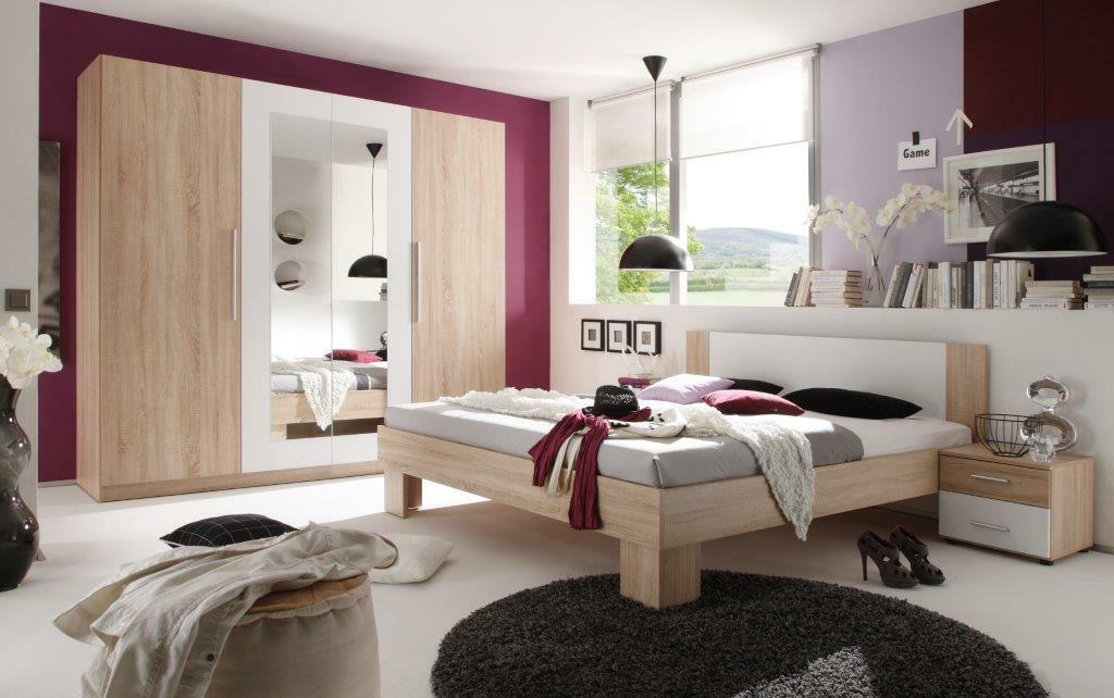Schlafzimmer Komplettset Sonoma Eiche Weiss Kleiderschrank Bett 2 X Nachttische