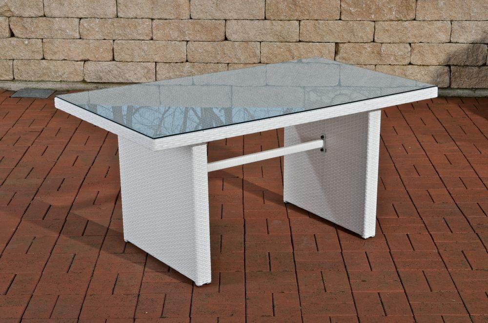 Gartentisch Weiss Rattantisch Glastisch Lounge Terrasse Hochwertig
