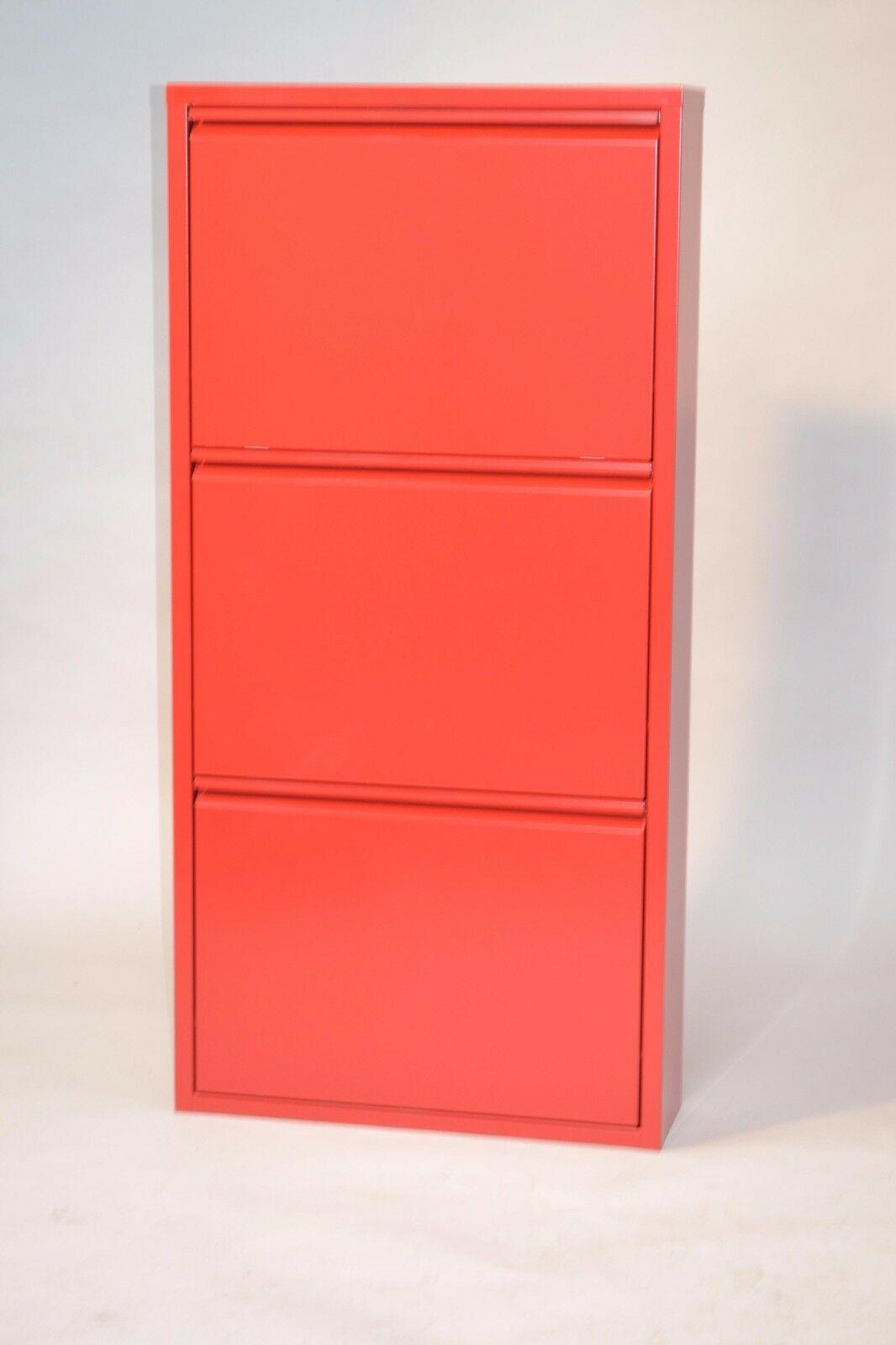 metall schuhschrank rot 3 klappen schuhkipper schuhregal. Black Bedroom Furniture Sets. Home Design Ideas
