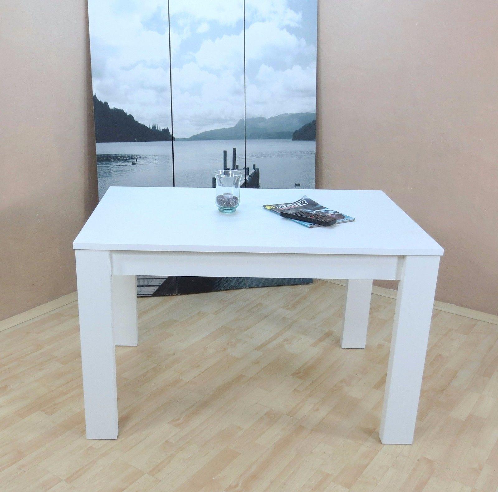 Esstisch Weiß Esszimmertisch Vierfusstisch Modern Design Robust Günstig Neu