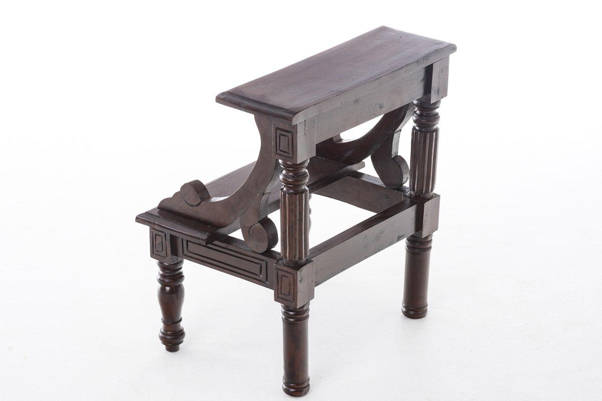 Trittleiter Holz treppe 2 stufig braun mahagoni holz tritthocker trittleiter hocker