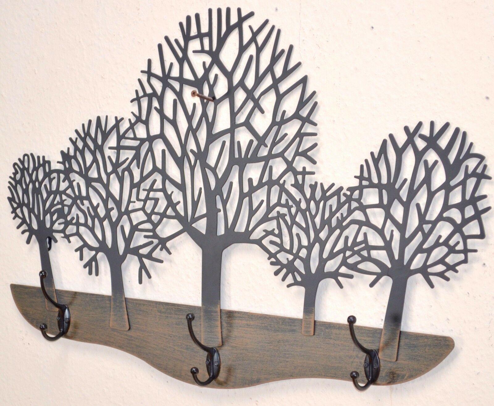 wandgarderobe bäume garderobe wald flurgarderobe 3 haken aus metall  hakenleiste