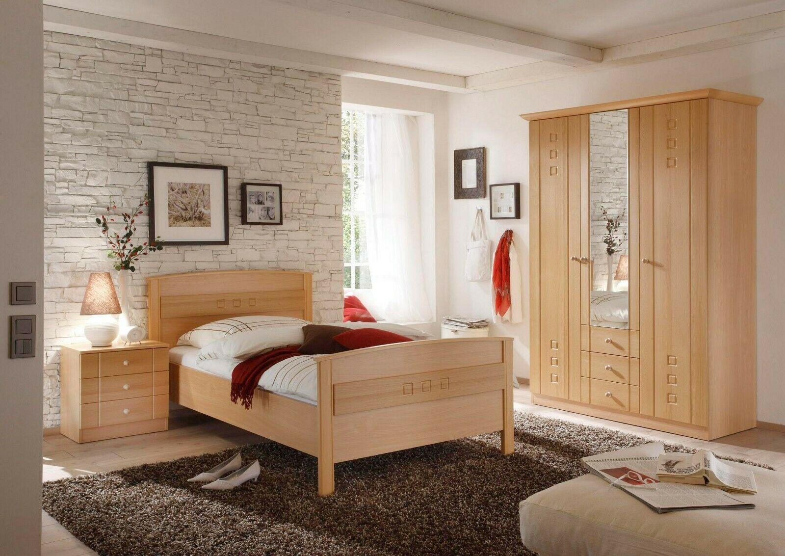 Schlafzimmer Komplettset Buche Seniorenzimmer Kleiderschrank Bett Nachttisch