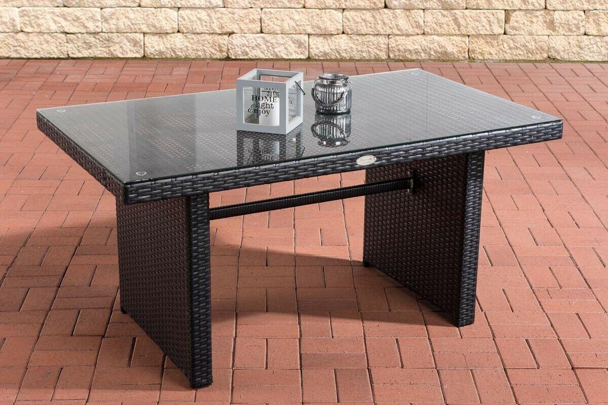 Garten Glastisch.Tisch Schwarz Gartentisch Garten Rattan Terrassentisch Rattantisch Glastisch Neu
