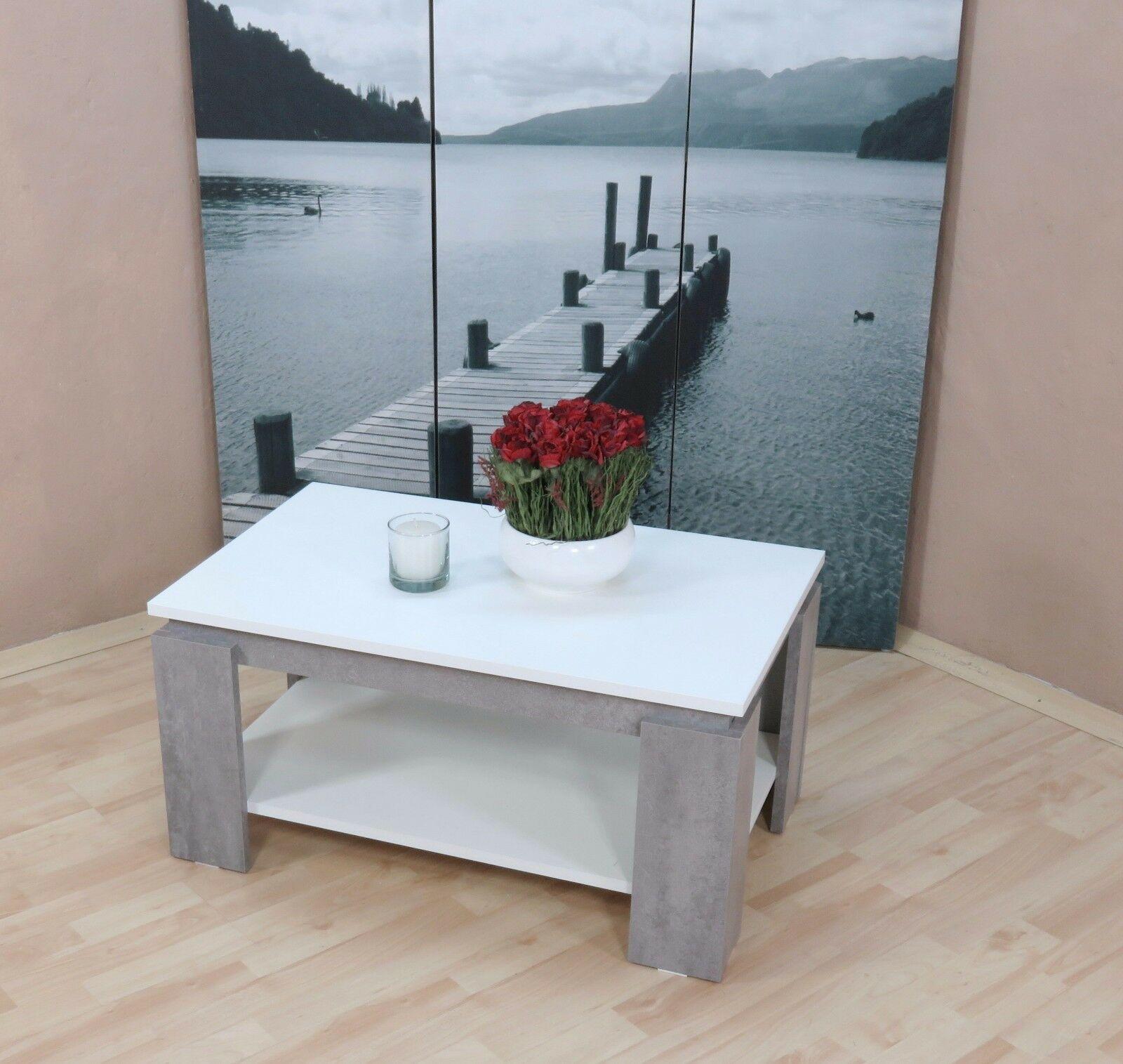 Couchtisch Weiß Beton Silber Zweifarbig Sofatisch Modern Design Edel