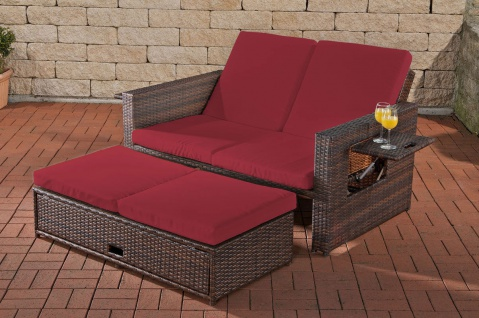 Poly-Rattan 2er Lounge-Sofa braun rot Gartensofa Couch Lounge Terrasse Outdoor