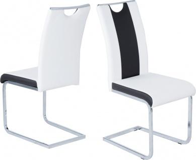 4 x Schwingsühle weiß schwarz Leder-Look Schwinger mit Griff günstig preiswert