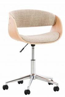 Bürostuhl Holzrahmen Stoffbezug natur creme Sitzsachale Drehstuhl modern design