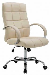 Bürostuhl bis 120 kg belastbar Kunstleder creme Chefsessel hochwertig klassisch