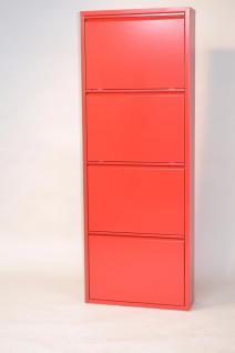 Metall-Schuhschrank rot 4 Klappen Schuhkipper Schuhregal preiswert günstig neu