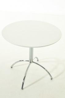 moderner Esstisch weiß rund Küchentisch Esszimmertisch Tisch design verchromt