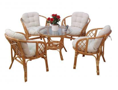 Sitzgruppe Tischgruppe Rattansessel inkl. Kissen Rattanstuhl Stuhl Sessel Honig