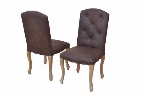 2er-Set Esszimmerstühle braun massivholz Polsterstuhl Sitzgruppe Stühle design